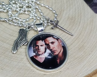 Supernatural Pendant Necklace,Supernatural Photo Necklace, Dean Winchester Photo Necklace,Sam Winchester Photo Necklace,Supernatural Jewelry