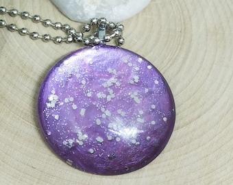 Purple Glass Necklace, Purple Boho Necklace, Hand Painted Art Deco Jewelry, Purple Glass Jewelry, Purple Pendant Necklace, Glass Necklace