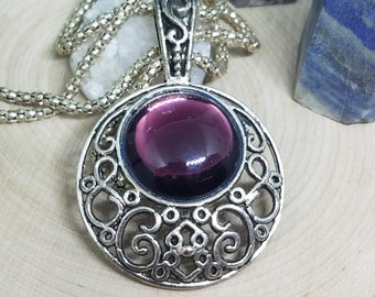 Amethyst Crystal Goth Necklace, Victorian Pendant Bold Necklace, Amethyst Crystal Medallion Necklace, Witch Necklace