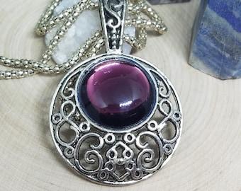 Purple Glass Amethyst Crystal Necklace, Amethyst Purple Silver Necklace, Czech Glass Protection Talisman, Amethyst Purple Gothic Necklace