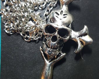 Skull Head Cross Necklace,Skull Head Pagan Necklace,Mens Cross Necklace Skull Jewelry,Skull Pendant Goth Necklace,Skull Head Wiccan Necklace