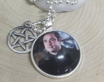 Crowley King Of Hell Demon Necklace, Supernatural Crowley Photo Necklace, Sci Fi Supernatural Pendant, Crowley Pentagram Necklace