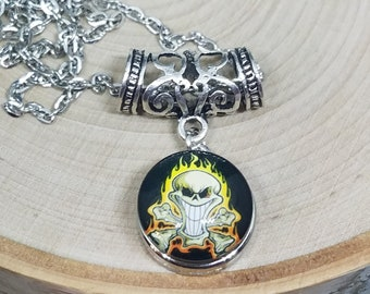 Silver Skull Head Snap Pendant Necklace, Mens Gothic Steampunk Jewelry, Wiccan Skull Necklace, Pagan Skull Jewelry