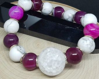 Crystal Quartz Wiccan Bracelet, Spirit Quartz Stretch Bracelet, Crown Chakra Protection Bracelet, Empath Protection Boho Bracelet