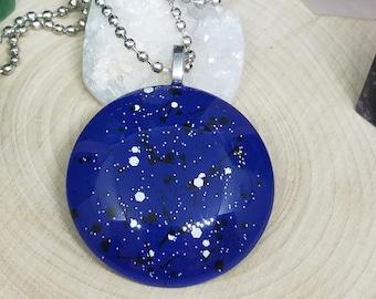 Blue Boho Necklace, Blue Polka Dot Pendant Necklace, Blue Glass Necklace, Blue Hand Painted Glass Necklace, Glass Art Pendant Necklace