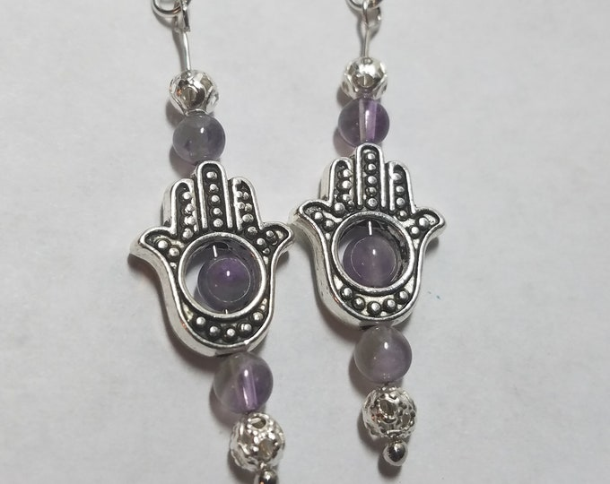Featured listing image: Hand Of Fatima Egyptian Earrings, Amethyst Crystal Hamsa Hand, Amethyst Crystal Hand Earrings, Evil Eye Earrings, Amethyst Crystal Earrings