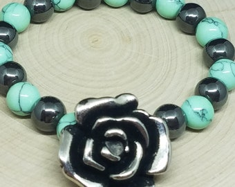 Turquois Hematite Crystal Chunky Beaded Stretch Bracelet, Boho Costume Fashion Jewelry, Victorian Wiccan Pagan Crystal Jewelry