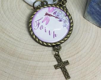 Faith Guardian Angel Cross Necklace, Faith Cross Necklace, Cross Necklace Women, Faith Photo Necklace,Faith Cross Pendant,Christian Necklace