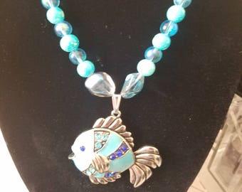 BLUE Beaded FISH PENDANT Necklace, Marine Life Nautical Necklace, Boho Costume Fashion Jewelry