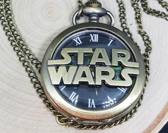 Mens Pocket Watches, Star Wars Watch Necklace, Star Wars Fob Watch, Pocket Watch Necklace