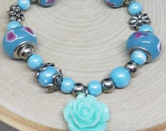 Blue Charm Bracelet, Blue Beaded Bracelet, Blue Floral Bracelet, Blue Boho Bracelet, Blue Stretch Bracelet, Blue Stone Jewelry