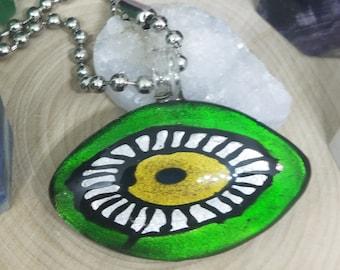 Green Blown Glass Evil Eye Pendant Necklace, Evil Eye Beaded Choker Jewelry, Boho Costume Fashion Jewelry, Egyptian Glass Necklace Jewelry