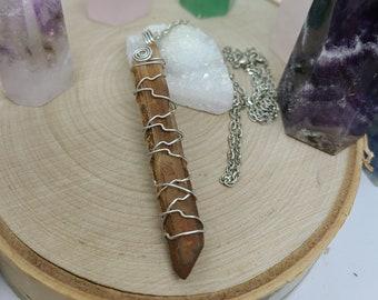 Lemurian Quartz Pendulum Necklace, Quartz Point Crystal Pendulum,Lemurian Seed Quartz,Crystal Point Pendulum Necklace,Lemurian Crystal Point