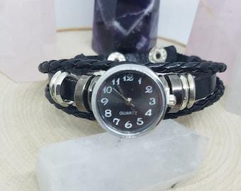 Leather Watch Bracelet, Wrist Watch Bracelet, Leather Cuff Watch Bracelet, Steampunk Watch, Ladies Watch, Mens Watch, Quartz Watch Bracelet