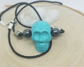 Crystal Skull Necklace, Crystal Skulls Turquoise Necklace, Natural Stone Wiccan Necklace, Crystal Skull Jewelry, Natural Stone Skull Pendant