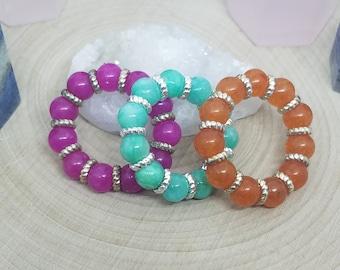 Quartz Ring Jewelry Set, Quartz Crystal Stretch Rings, Empath Protection Wicca Ring, Quartzite Stacking Rings, Empath Protection Thumb Ring