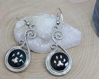 Paw Print Earrings, Cat Mom Blue Earrings, Dog Mom Blue Earrings, Animal Lover Gift, Earrings Dangle Snap Jewelry, Dog Mom Drop Earrings