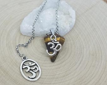 Tiger Eye Crystal Pendulum, OM Chakra Pendulum, Tiger Eye Crystal Pendulums, Crystal Healing Pendulum, Chakra Balancing Pendulums