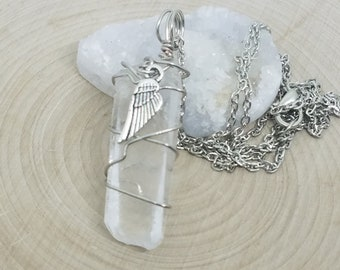 Angel Wing Necklace, Crystal Quartz Angel Necklace, Crystal Quartz Necklace, Crystal Point Angel Necklace, Crystal Pendulum Necklace