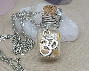 Citrine Crystal OM Necklace, Citrine Bottle Necklace, Raw Citrine Necklace, Citrine OM Bottle Necklace, Citrine Empath Jewelry