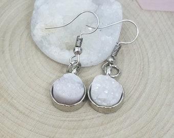 White Quartz Druzy Earrings, Crown Chakra Quartz Earrings, Healing Crystals Wicca Earrings, Quartz Cluster Stone Earrings