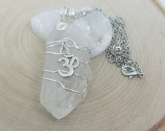 Crystal Point Quartz Necklace, Crystal Pendulum Necklace, Quartz Cluster Om Pendant,Raw Crystal Necklace,Raw Stone Necklace, Quartz Necklace