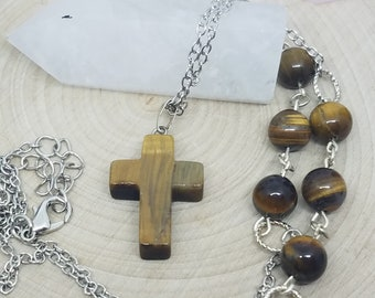Tigers Eye Cross Necklace, Tigers Eye Crystal Cross Necklace, Men's Stone Cross Necklace, Religious Cross Necklace