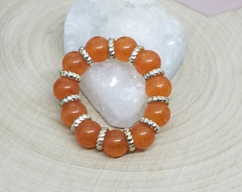 Orange Quartz Crystal Stretch Rings,Orange Quartzite Stacking Rings,Orange Crystal Ring,Orange Thumb Ring,Orange Wicca Ring