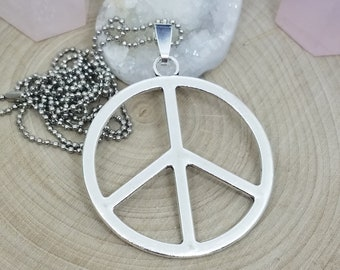 Peace Necklace,Peace Sign Medallion Necklace,Peace Pendant,Free Spirit Boho Necklace,Free Spirit Yoga Necklace, Peace And Love Boho Necklace
