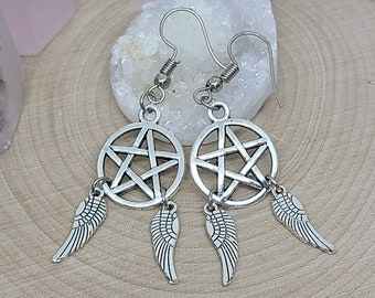 Supernatural Castiel Angel Earrings, Angel Wings Castiel Earrings, Castiel Supernatural Jewelry, Supernatural Angel Earrings, Pagan Earrings