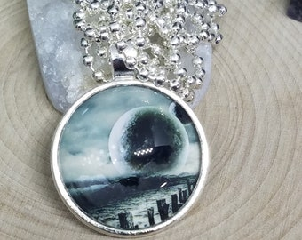 Space Pendant Planet Necklace, Moon And Stars Planet Jewelry, Photo Pendant Galaxy Necklace, Photo Pendant Necklace