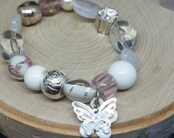 White Beaded Glass Bracelet, Bohemian Bracelet, Boho Charm Bracelet, Boho Fashion Jewelry, Lampwork Glass Jewelry, Fashion Gifts for Women