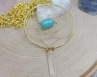 Dream Catcher Pendant Necklace, Native American Protection Amulet, Dreamcatcher Turquoise Necklace, Large Dream Catcher