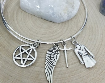 Supernatural Castiel Angel Bracelet, Silver Bangle Bracelet, Supernatural Castiel Charm Bracelet, Silver Bangle Angel Bracelet