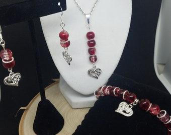 Red Necklace Birthstone Jewelry, Glass Jewelry Sets, Birthstone Jewelry Set,Beaded Jewelry,Handmade Jewelry Set,Crystal Jewelry Set