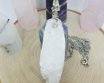 Druzy Quartz Necklace, Wire Wrapped Crystal Quartz Pendant Necklace, white witch protection talisman, crystal quartz healing necklace