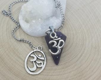 Amethyst Point Crystal Pendulum, Amethyst Crystal Pendulum, Crystal Pendulum Dowsing, Wicca Altar Tools,Third Eye Chakra Crystal Healing