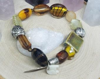 Brown Beaded Glass Stretch Bracelet, Bohemian Charm Bracelet, Boho Fashion Jewelry, Lampwork Glass Jewelry, Fashion Gifts for Women