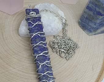 Lapis Lazuli Necklace, Lapis Lazuli Pendant, Lapis Lazuli Jewelry, Empath Protection Wiccan Gifts, Crystal Pendulum Necklace,Chakra Necklace