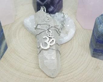 Crystal Quartz Point Necklace,Crystal Quartz Raw Stone Necklace,Quartz Point Pendulum Necklace,Crown Chakra Om Necklace,Crystal Quartz Point