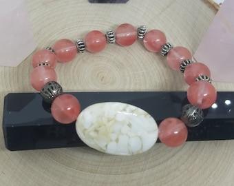 Cherry Quartz Stretch Bracelet, Pink Crystal Bracelet, Reiki Charged Hematite Crystal Protection Bracelet,Empath Protection Crystal Bracelet