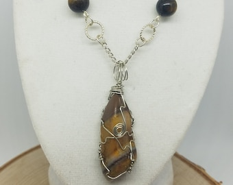 Tigers Eye Necklace,Solar Plexus Chakra Jewelry,Root Chakra Protection Necklace,Tigers Eye Wicca Jewelry,Solar Plexus Chakra Crystal Jewelry