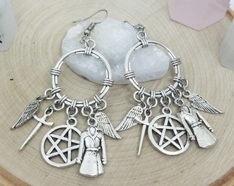 Silver Supernatural Castiel Earrings, Dean Winchester Supernatural Earrings, Castiel Angel Earrings, Silver Supernatural Wiccan Jewelry