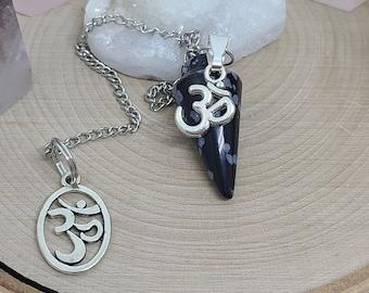 Snowflake Obsidian Crystal Pendulum, OM Pendulum Crystal,Obsidian Crystal Pendulum,Black Obsidian Dowsing Pendulum,Obsidian Healing Crystals