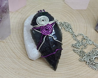 Black Obsidian Arrowhead Necklace, Arrowhead Point Necklace, Obsidian Protection Necklace, Raw Crystal Obsidian Arrowhead