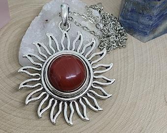 Aventurine Carnelian Necklace, Red Aventurine Sun Necklace, Aventurine Sun Pendant, Red Aventurine Carnelian Necklace, Silver Sun Necklace