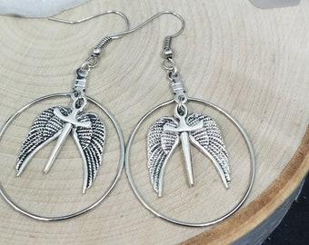 Supernatural Castiel Angel Earrings, Silver Winged Hoop Earrings, Boho Costume Fashion Jewelry