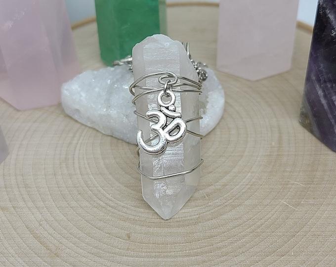 Featured listing image: Crystal Pendulum Necklace, Crystal Quartz OM Necklace, Clear Quartz Crystal Point, OM Pendulum Necklace, Crystal Point OM Pendant