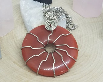 Red Aventurine Necklace, Aventurine Crystal Necklace, Aventurine Carnelian Necklace, Aventurine Crystal Pendant, Aventurine Stone Necklace