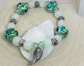 GREEN CRYSTAL And GLASS Beaded Charm Stretch Bracelet, Boho Costume Fashion Jewelry, Wiccan Pagan Crystal Jewelry